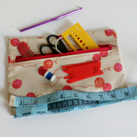 Knitting accessories bag, knitting zipper pouch, lined cotton bag, pencil case