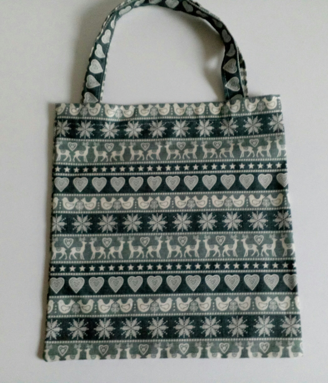 Xmas gift bag, Scandi design, gifts, 100% cotton bag, Christmas gift bag