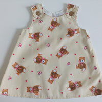 6-12 months, A Line dress, Summer dress, pinafore, Teddy Bear dress