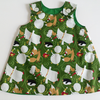 6-12 months, A line dress, Winter scene dress, pinafore, Dress