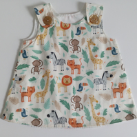 0-3 months,  A Line dress, Summer dress, pinafore dress, animals,  safari print