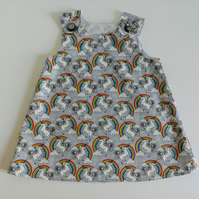 12-18 months, Summer dress, unicorns, A line dress, pinafore, grey dress