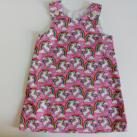 Summer dress, unicorns, A line dress, pinafore, pink dress age 2 yrs