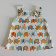 0-3 months,  A Line dress with elephant fabric, Summerdress, pinafore dress