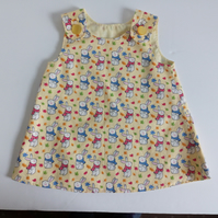 3-6 months,  Summer dress, A Line dress with rabbits, pinafore dress