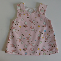 0-3 months, pink, A Line dress with sheep , Summer dress,  pinafore