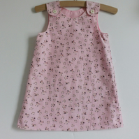 Age 2 years, needlecord, A line dress, pink floral dress, pinafore