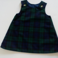 12-18 months, A line dress, pinafore, Black Watch Tartan dress