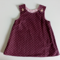 6-12 months, needlecord, A line dress, pinafore, pink polka dots, burgundy,