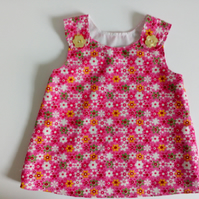 3-6 months, pink floral needlecord, A Line dress,  pinafore, dress