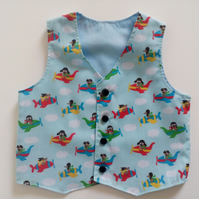 Age 6-9 months, boys waistcoat, dogs, aeroplanes, blue waistcoat,