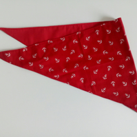 "Dog Bandana, med size, 16""-22"", anchors,  neckerchief style, red, white,"