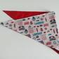 "Dog Bandana, med size, 16""-22"", neckerchief style, London theme, red, white"