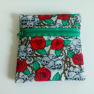 Purse, coin purse, change purse, zipper pouch, Goth style, skulls, roses, green