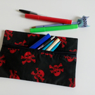 Pencil case, zipper pouch, back to school, drawing, skull, crossbones, pirate