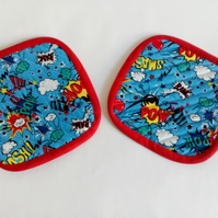 Gift for geek, coasters, mug rug, coaster set, pair of coasters