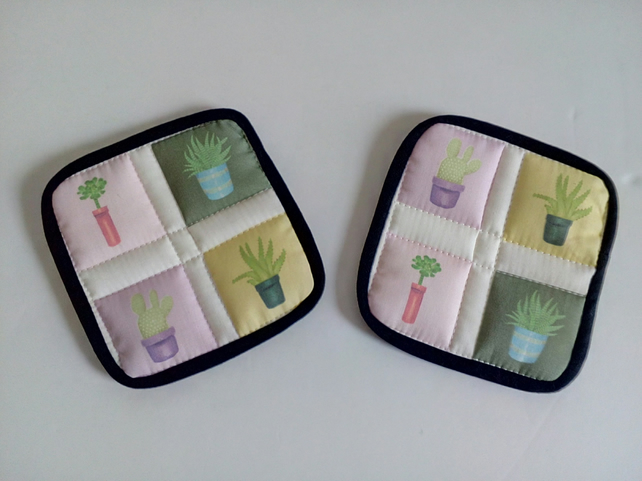 Cactus coasters, Pair of coasters, mug rug, coaster set, house warming, dining