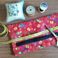 Sewing accessories bag, zipper pouch, lined cotton bag, pencil case, craft