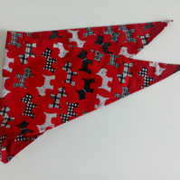 "Dog Bandana, small size, 11""-15"", Scottie dog, red, neckerchief style, check"