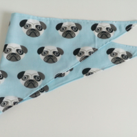 "Dog Bandana, small size, 11""-15"", Pug, dog, blue, neckerchief style, reversible"