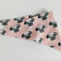 "Dog Bandana, small size, 11""-15"", Pug, dog, pink,  neckerchief style, reversible"