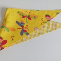 "Dog Bandana, extra small, up to 11"" neck, dragonflies, check, neckerchief style"
