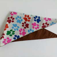 "Dog Bandana, extra small, up to 11"" neck, neckerchief, paw prints, brown"