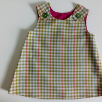 3-6 months, check dress, A Line dress, pinafore dress, girl's clothing