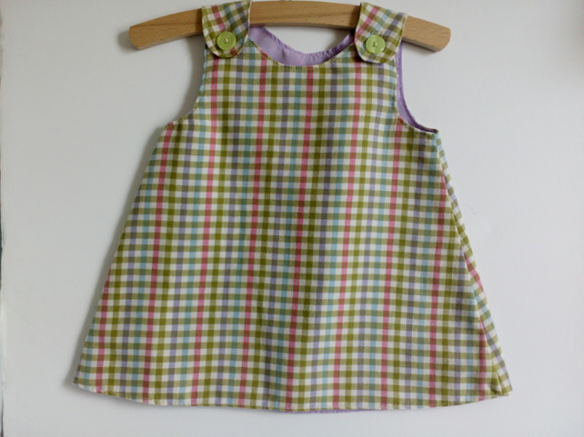 6-12 months, A line dress, check dress, pinafore, girls clothing