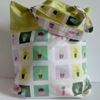 Tote bag, Fabric shopping bag, cloth bag, cotton bag, cactus design, tote, bag