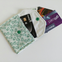 Loyalty card holder, purse, envelope style purse,  popper fastener