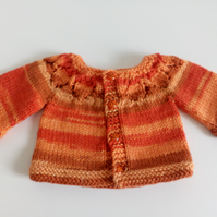 3-6 months, Orange, rust,  baby cardigan, matinee jacket,