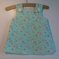3-6 months, dress, rabbits, A Line dress, summer dress, bunnies
