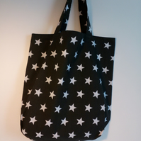 Tote bag, Fabric shopping bag, cloth bag, polycotton bag, tote, black bag, stars