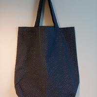 Tote bag, Fabric shopping bag, cloth bag, polka dot bag, reversible tote, dotty