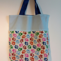 Tote bag, Fabric shopping bag, cloth bag, reversible tote, paw print design, bag