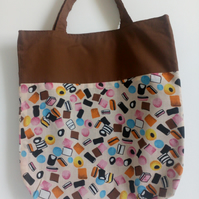 Tote bag, Fabric shopping bag, cloth bag, reversible tote, liquorice allsorts