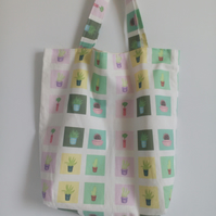 Tote bag, Fabric shopping bag, cloth bag, cotton bag, tote, cactus design bag