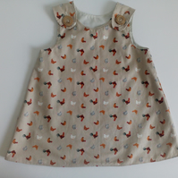 12-18 months, Summer dress, A line dress, pinafore, dress, beige, chickens