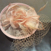 Stunning Nude Sinamay Flower Fascinator with Veil