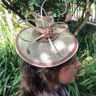 Elegant Cream & Nude Pink Sinamay Fascinator on Headband