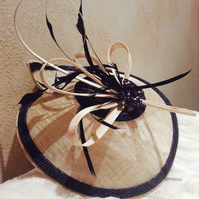 Elegant Cream & Navy Sinamay Fascinator on a Headband