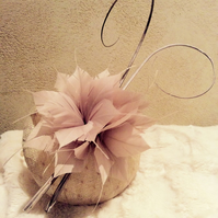 Stylish Cream & Light Pink Pillbox Fascinator on Headband