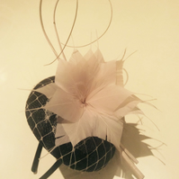 Stylish Black and Nude Pillbox Fascinator on Headband
