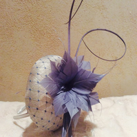 Stylish Cream & Light Blue Pillbox Fascinator on Headband