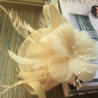 Petite Cream Flower and Faux Pearl Fascinator