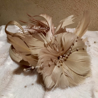 Bronze & Gold coloured Flower and Pearl Fascinator