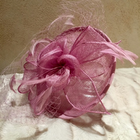 Gorgeous Lilac Flower and Feather Fascinator with Delicate Veil