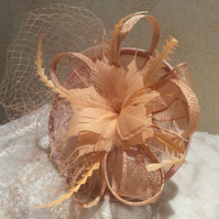 Gorgeous Peach Flower Fascinator with Net Veil
