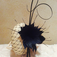 Stylish Cream & Navy Pillbox Fascinator on Headband